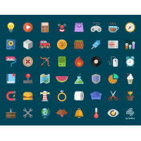 Creative Cartoon Style Flat Icons PSD Set