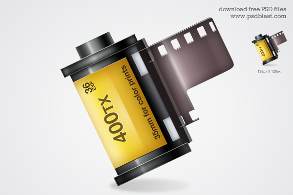 Shiny Camera Film Strip Icon PSD