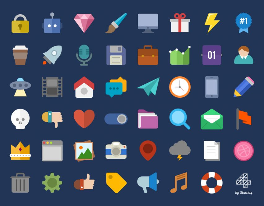 Creative and Colorful Flat Web Icons Pack PSD