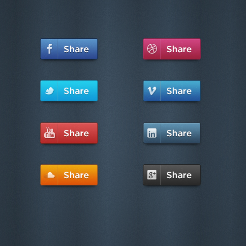 Social Media Buttons Set PSD