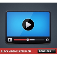 Black Video Player Icon PSD