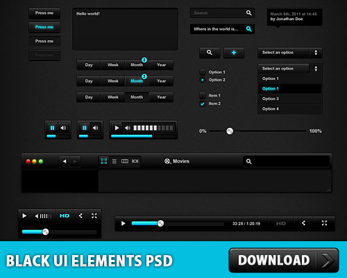Black User Interface PSD File