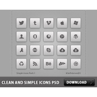 Clean and Simple Icons PSD