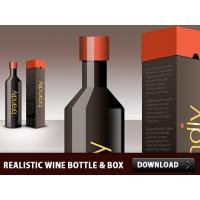 Realistic Wine Bottle And Box PSD