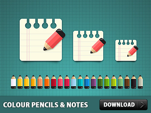 Coloured Pencils with Notes Icon PSD