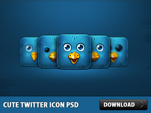 Cute Twitter Icon Free PSD
