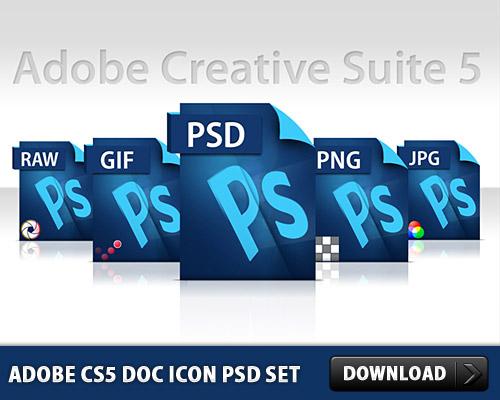 Adobe CS5 Doc Icon Free PSD Set
