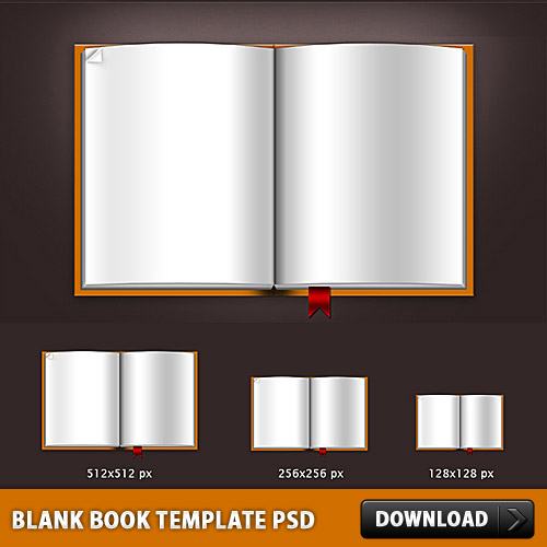 Blank Book Template PSD File