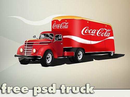 Coca Cola Truck Free PSD