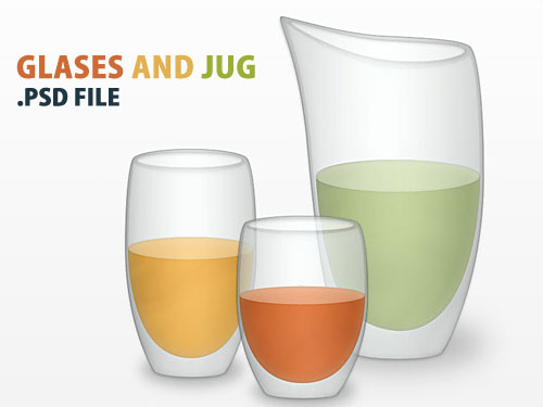 Glasses And Jug PSD File