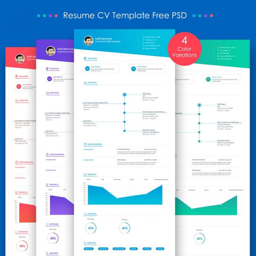 Resume CV Template Free PSD