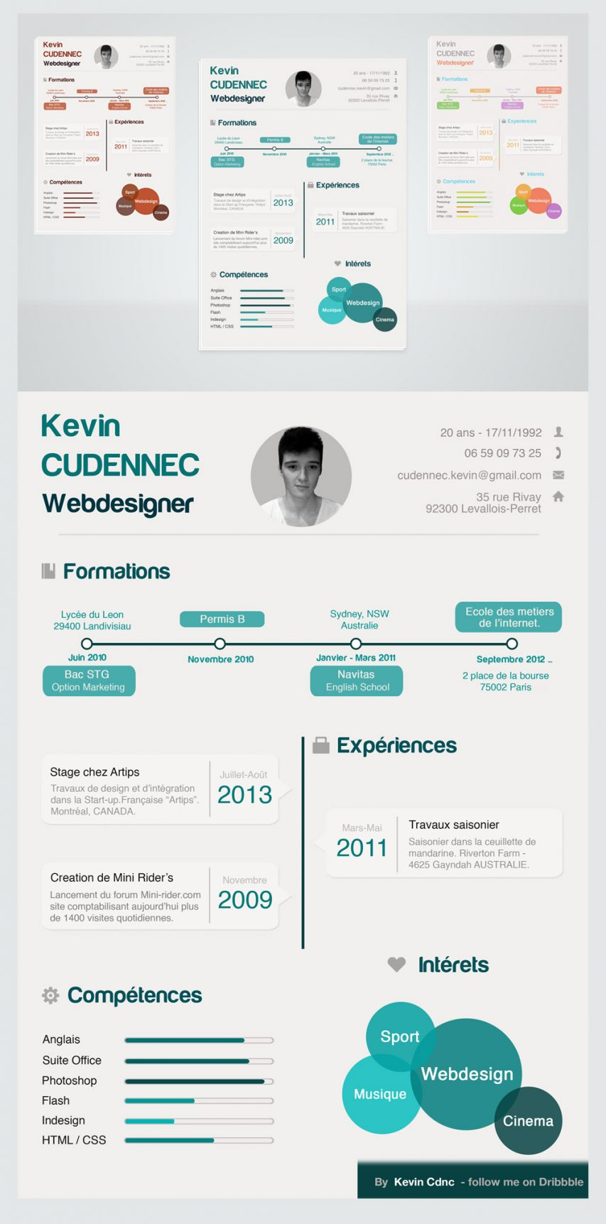 Creative Infographic Style Free Resume PSD For Designers