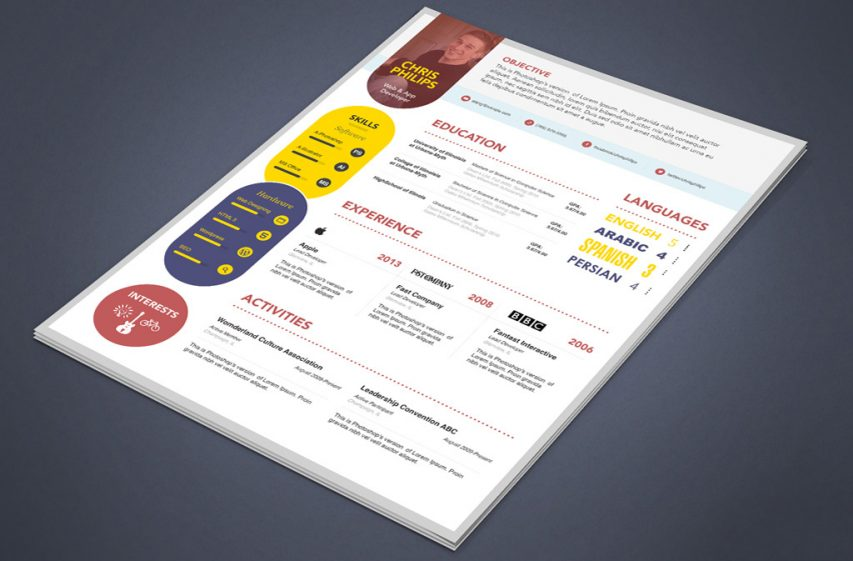 VCreative Web Designer Developer Resume Template PSD