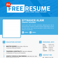 Simple Professional Resume Template PSD File