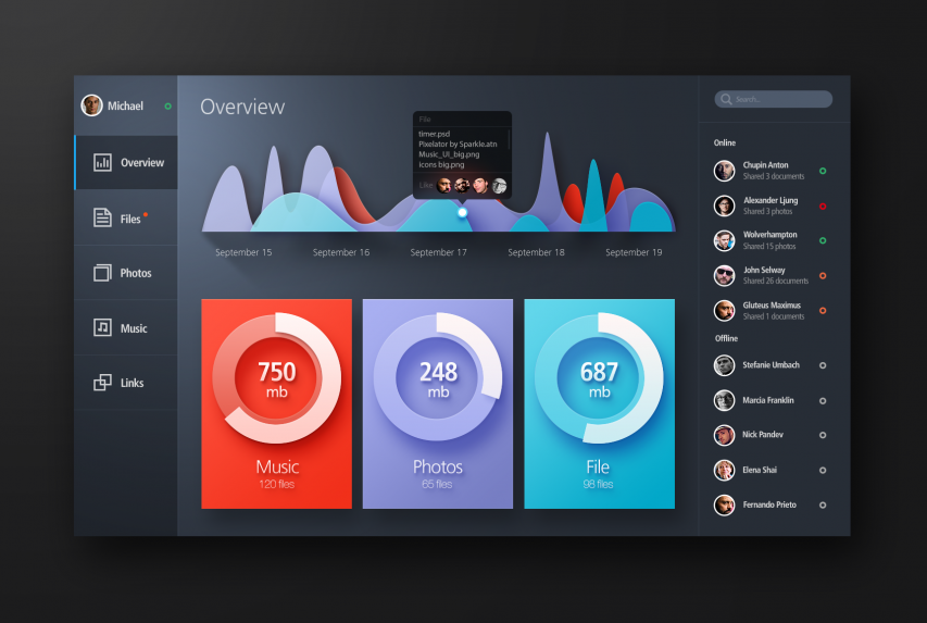 Bold Color Flat Web UI Elements Kit