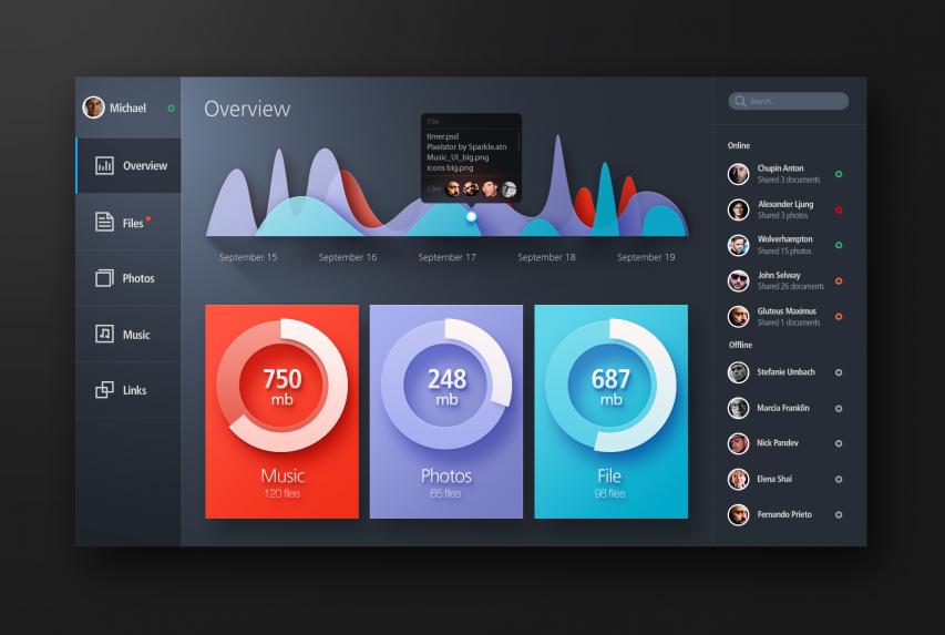 Bold Color Flat Web UI Elements Kit