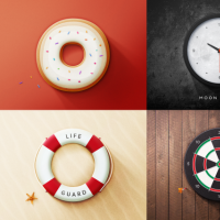 Realistic Round Object Web Icons PSD Set