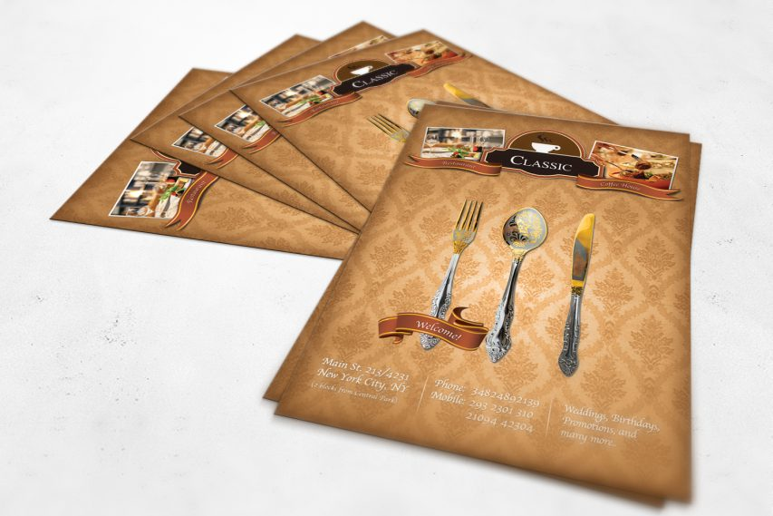 Classic Coffee House Restaurant Flyer PSD