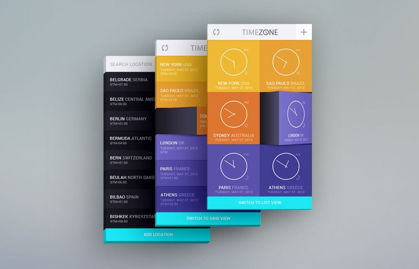 Time Zone Mobile App UI Kit Free PSD