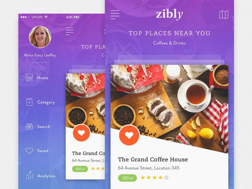 Fast Food Restaurant Finder App Free PSD
