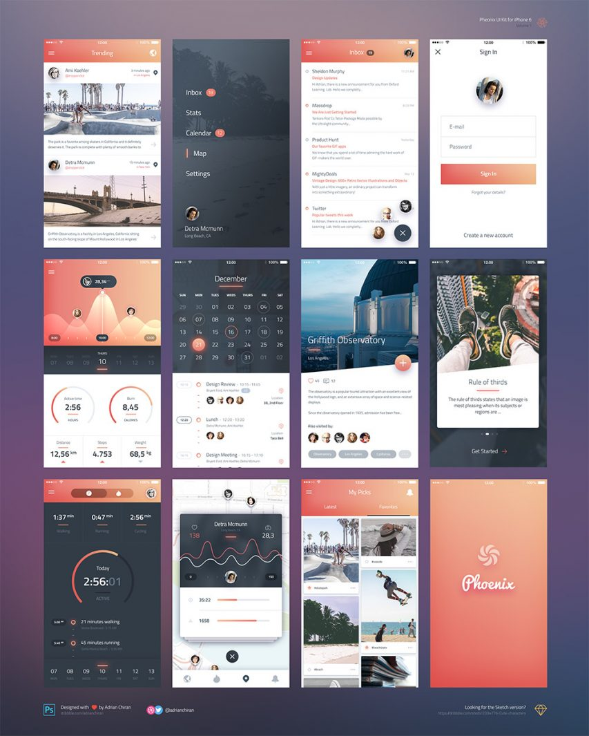 iPhone 6 iOS Application UI Kit