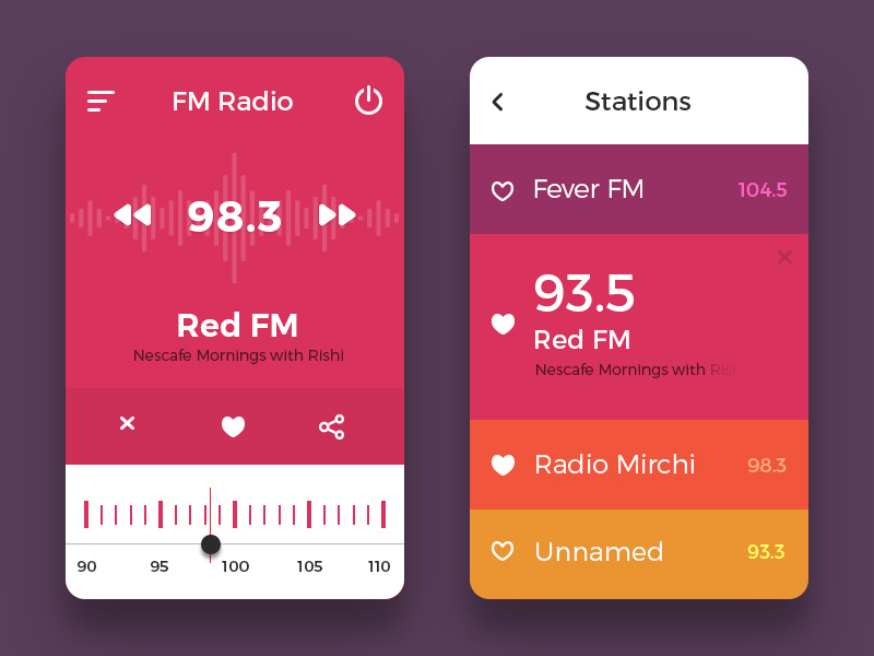 Colorful Mobile Radio App UI Free