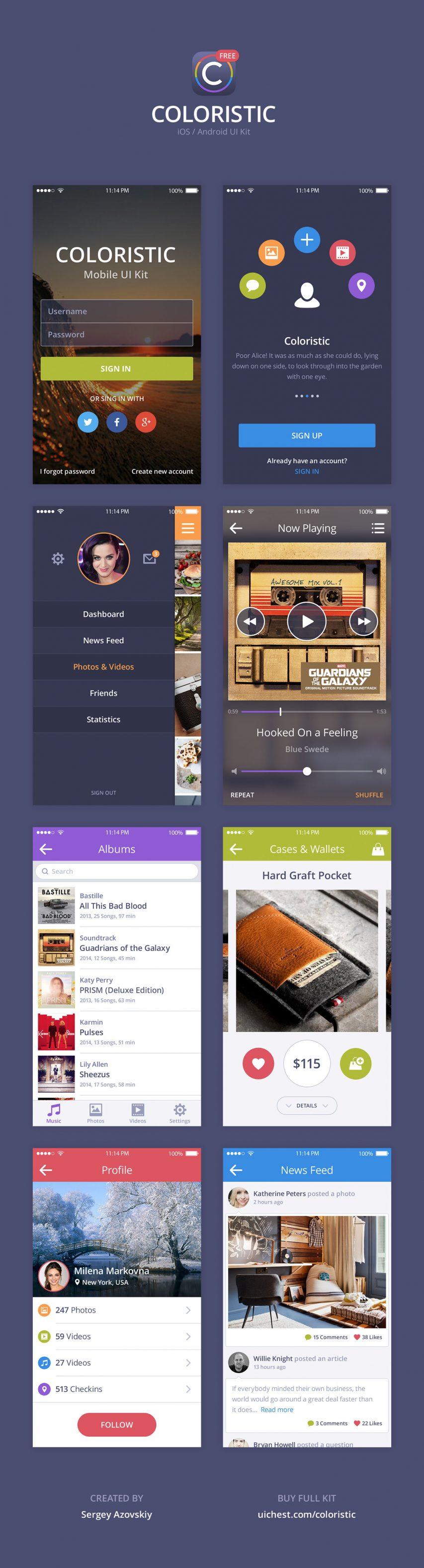 Colorful App UI Kit PSD