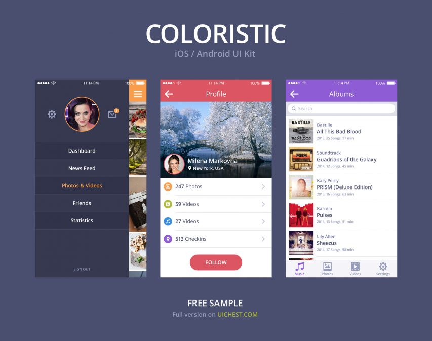 Simple Colorful iOS Android UI Kit