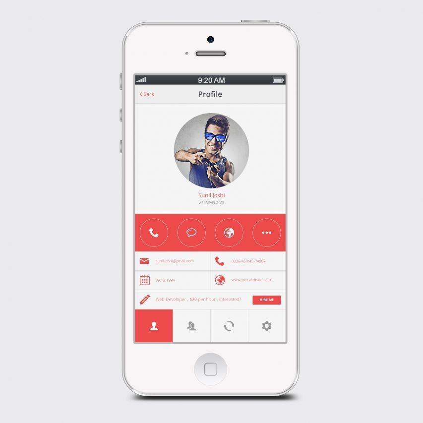 Clean White User Profile Mobile App
