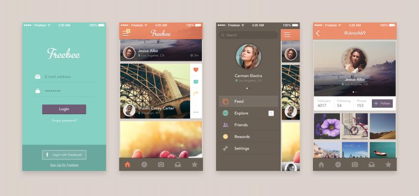 Full Mobile App Screens Free PSD