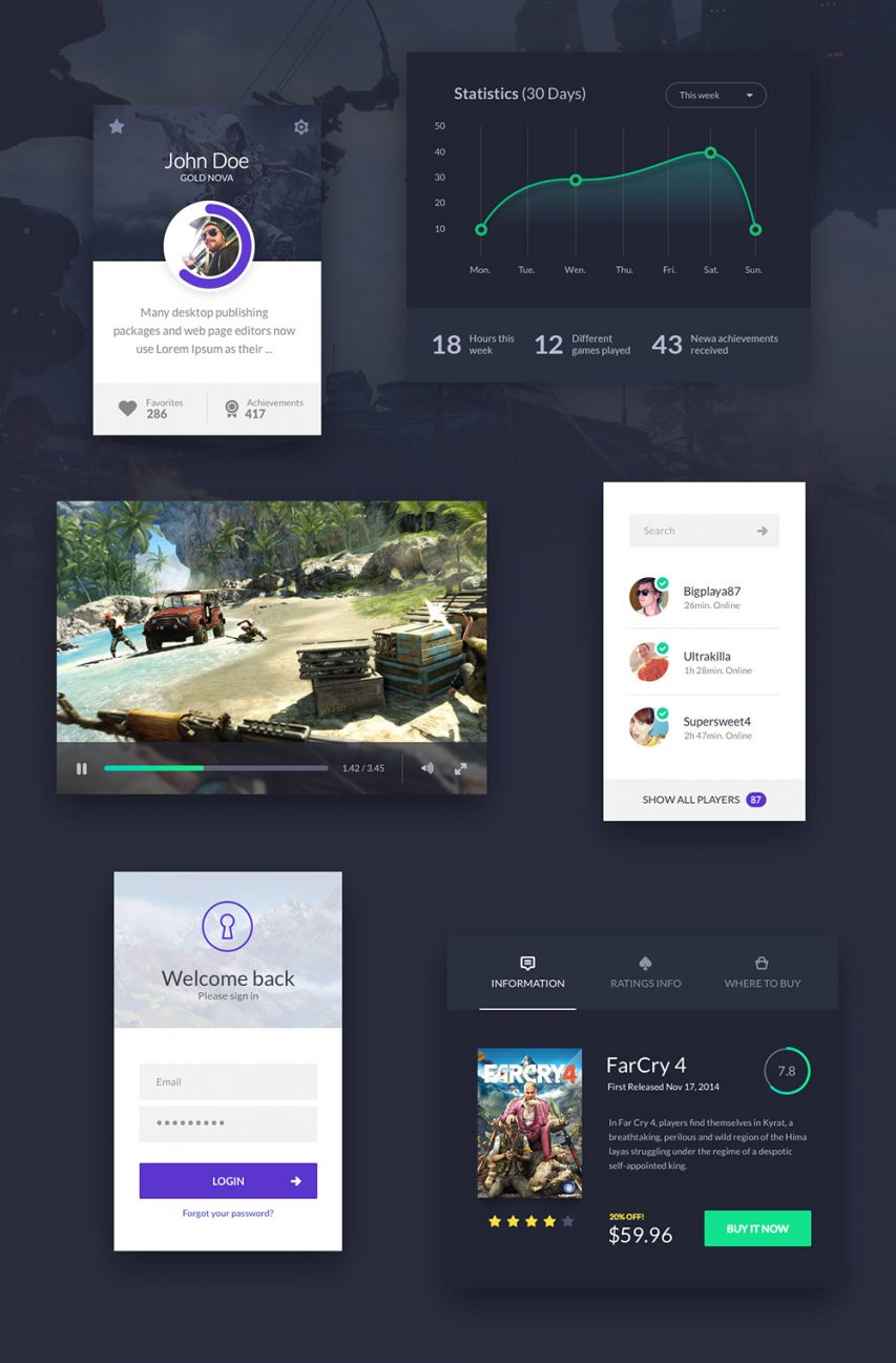 Game Application UI Kit Elements Free