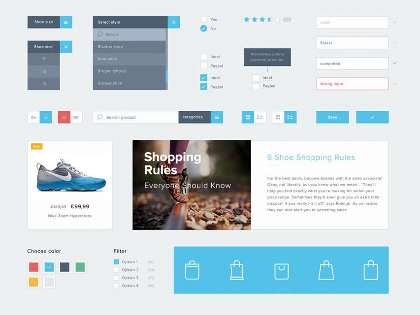 eCommerce Flat Elements Free UI Kit
