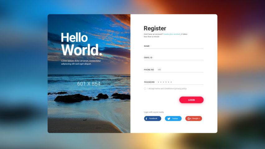 User Login Register Screen Free