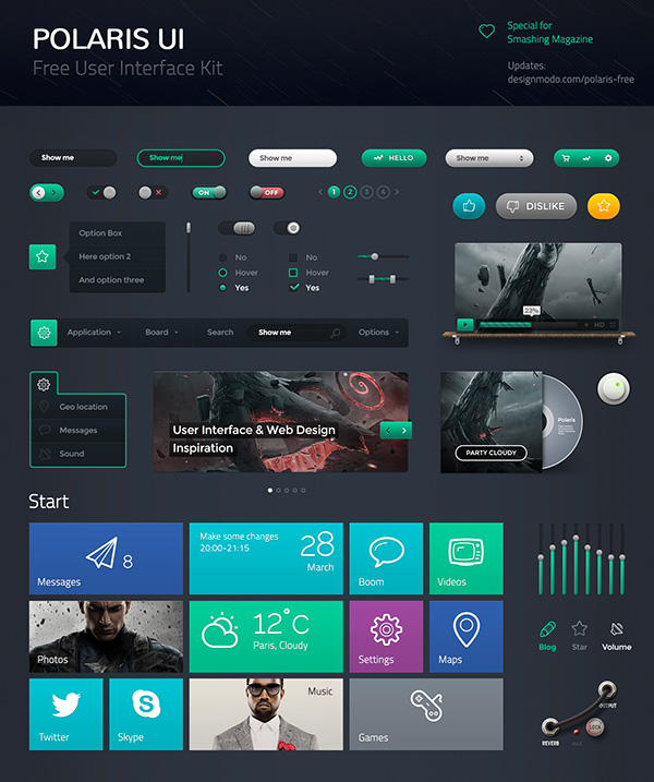 Dark UI Kit Components Free