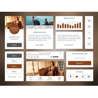 Brown Flat UI Kit Free
