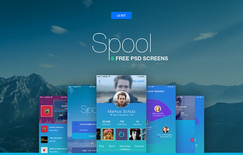 Music and Social Mobile App UI Kit Free