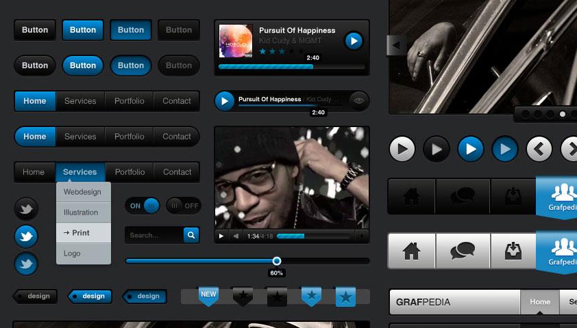 Media Dark UI Kit Free