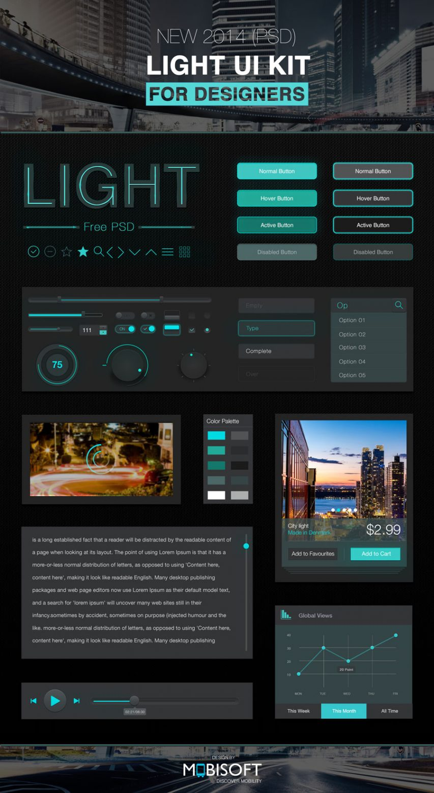 Dark Style UI Kit Elements Free