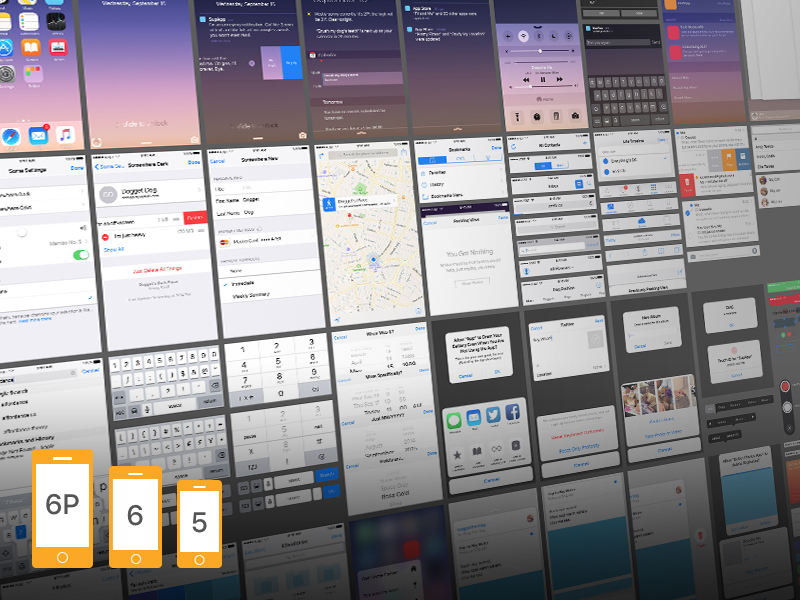 iOS 9 Ui Kit for iPhone 6s Plus Free