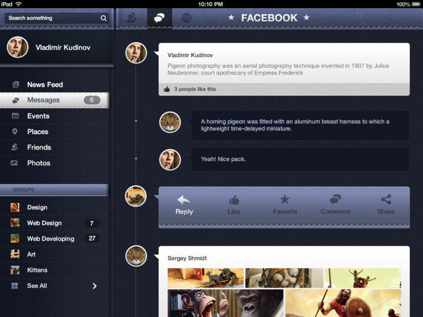 Facebook Redesign iOS Concept Free
