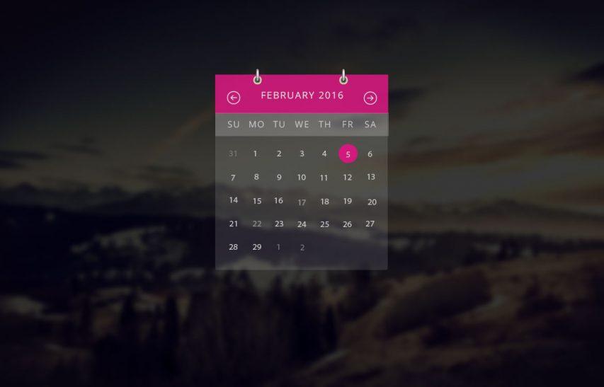 Transparent Calendar Widget UI Free