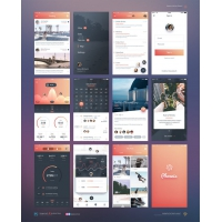 iPhone 6 iOS Application UI Kit Free