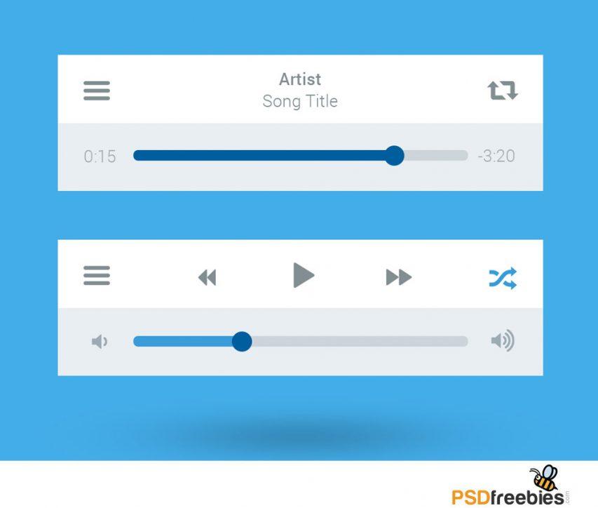 Flat Style Media Player UI interface Free