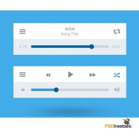 Flat Style Media Player UI interface Free