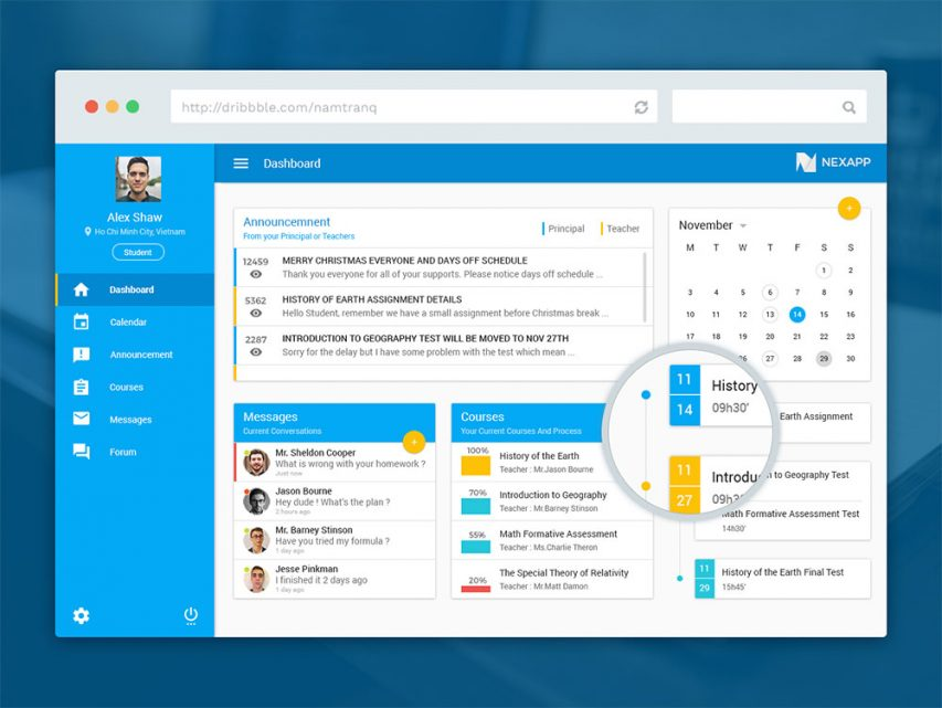 eLearning Educational Website Dashboard UI