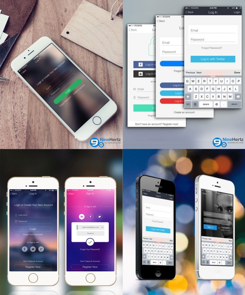 iOS 8 Login Screens UI Design Free