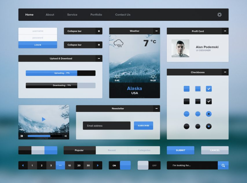 Minimal Flat UI Kit Free PSD
