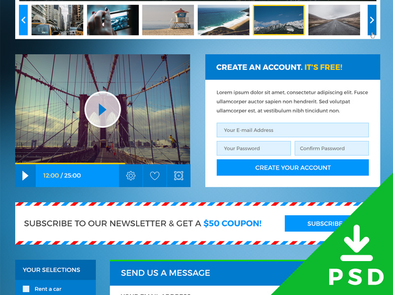 Traveling Website UI Kit PSD