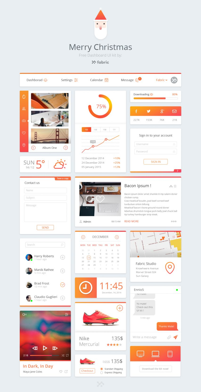 Cool Orange Dashboard UI Free PSD