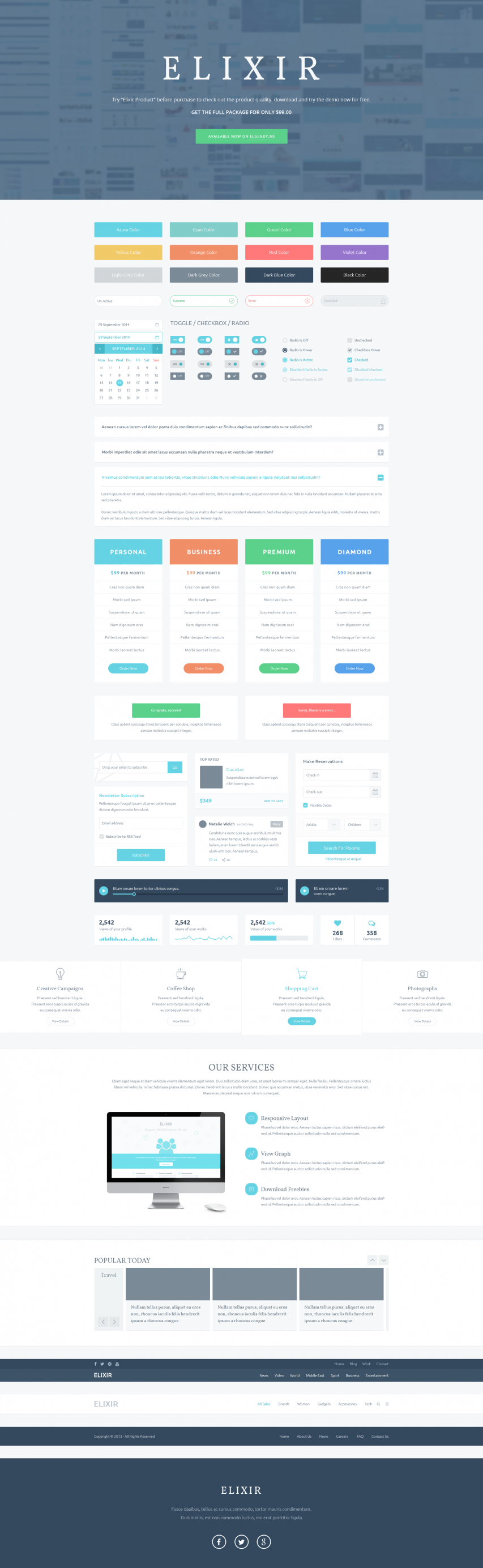 Huge UI Elements Kit PSD